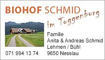 Biohof Schmid im Toggenburg